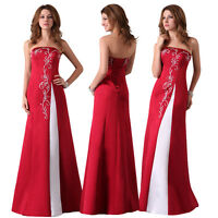 Wine Red Womens SATIN Bridesmaid Long Ball Gown Evening Prom WEDDING Party Dress