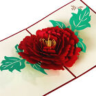 3D Pop Up Greeting Cards Peony Birthday Valentine Mother Day Christmas ATAU