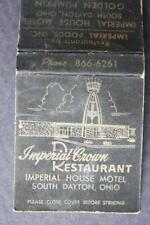 1960s Era South Dayton,Ohio Imperial House Motel-Crown Restaurant matchbook!