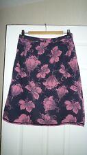 Beautiful WHITE STUFF floral Velour / velvet Skirt UK 8, aubergine, pink