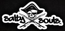Salty Souls Pirate Skull & Fishing Rods Sticker Decal Salt Beach Surfing Life