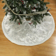 Round Cotton Lined Christmas Tree Skirt Base Floor Mat Cover Party Decor Silver