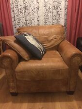 dfs brown leather 3 seat sofa, arm chair and large foot stall