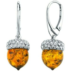 Baltic Amber Acorn Design Drop Dangle Earrings in Sterling Silver