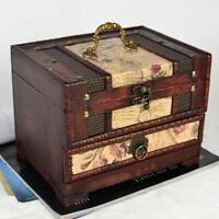 Vintage Wooden Large Jewellery Box 2 Drawer Storage Organiser Cabinet w/Mirror
