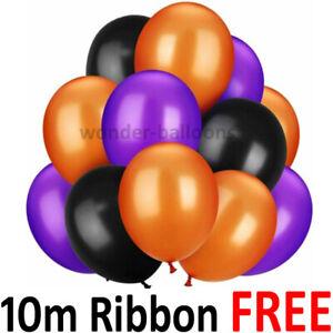 100pcs Balloons 10'' Black, Orange and Purple Balloons for Halloween Decor UK
