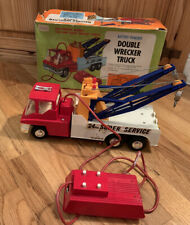 Vintage Double Wrecker Truck Battery Powered 1970's 24 Hour Super Service Rare!