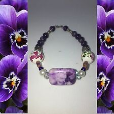 beaded jewelry purple marble and silver accents. Statement piece!