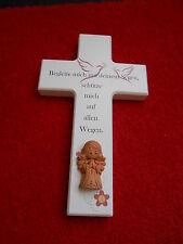 Kinderkreuz weiß m.Schutzengel Taufe Geburt Taufkreuz Taufgeschenk Holzkreuz