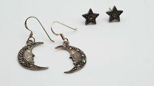 925 Silver Marcasite 1.5mm Earrings Signed Moons Stars Pierced DY950