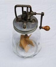 """Vintage Old 15.5"""" Hand Crank Dazey No 8 Butter Churn w/ Tulip Shaped Glass Base"""