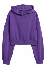 H&M Cropped hooded top- Purple- size XS, BNWT