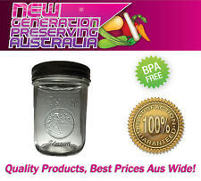 6 x Aussie Mason LOGO Wide Mouth Pint jars 500ml Preserving jars and Lids, Ball
