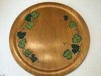"Large Hand Painted Wooden Serving Tray Round Green Ivy Vintage 16"" Made in USA"