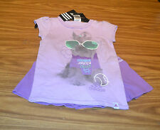 Adidas Girl's 2PC S/S Shirt & Skort Outfit-Orchid Purple-6X-NWT
