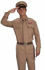 WWII Brown Army Military Soldier Officers Generals Uniform Costume General -Fast