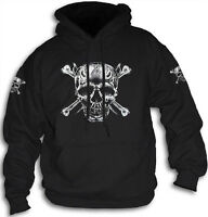 Skull Bones Daggers Pirate Biker Goth Mens Womens Hoody Hooded Top  Sm 2XL