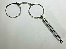 Antique German 800 Silver & Blue Enamel Elegant Folding Lorgnette Glasses