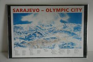 RARE Framed Poster of OLYMPIC GAMES SARAJEVO 1984 LARGE ORIG MUJEZINOVIC