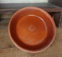 Vintage Redware Pie Plate Dish - Pumpkin Glaze