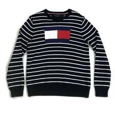Tommy Hilfiger Mens Sweater Crewneck Flag Logo Stripe Blue Sz Large