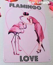 pink FLAMINGO LOVE TIN SIGN new retro Vintage caravan trailer camper art kitsch