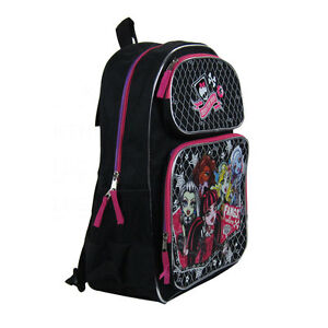 "Brand New Monster High Black 16"" Kids Boy Girl School Bag Backpack Supplies"