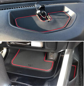 fits Nissan Navara NP300 D23 2015-2019 Rubber Gate Slot Pad Cup Holder Mats-Red