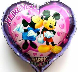 Helium Folienballon Disney Micky Maus Minnie Herz Geburtstag Geschenk NEU