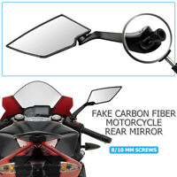 2Pcs Motorcycle Handle Bar End Mirrors Bike/Motorbike Rearview 8/10MM Universal
