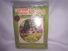 """VTG 1978 NIP SUNSET DESIGNS USA NEEDLEPOINT """"FRIENDS IN THE MEADOW"""" KIT #6702"""