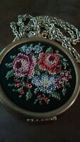 "Vtg AVON Petit Point Needlepoint Locket Necklace Brass 32"" Chain Victorian Roses"
