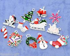 50 Mixed Silver Plated Enamel Christmas Charms Pendants