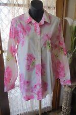 VINTAGE ~ LIZ CLAIBOURNE ~ Cream/Pink Floral Long-line BLOUSE/TOP * Size L/14 *