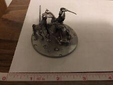 Knights On Horseback Battling Fancy Pewter Sculpture 1992 By Tom Meier