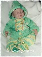 Honeydropdesigns * Reed * PAPER KNITTING PATTERN * Baby/Reborn (4 Sizes)