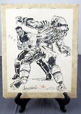 "Chris S Warner Signed Black Cross vs Predator Pencil & Ink Sketch 1989 11x14"""