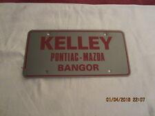 "Vintage Plastic License Plate - Kelley Pontiac - Mazda  - 6"" by 12"" - 1980's"