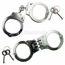 2pc SET Handcuffs TRIPLE HINGED  & CHAINED Police Hand Cuffs W/ 2 Keys SET