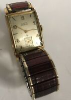 Vintage Wrist Watch ELGIN DeLuxe w/ SPEIDEL Band Wind Up WORKING 1950's Men's