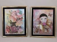 lot of 2 Manifestations Optical Illusionary Art Matted and Framed Silver Foil