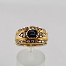 Safir Goldring Gelbgold 585 Ring Größe 55 Saphir Brillant Handarbeit