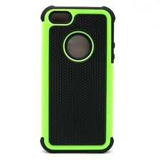 iPhone 5 5S SE Case Green Black Dual Layer Hybrid Protector Hard Case Cover