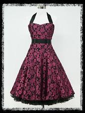 dress190 PURPLE & BLACK 50s FLORAL LACE ROCKABILLY VINTAGE PROM PARTY DRESS 8-10