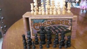 SUPERIOR QUALITY ANTIQUE SET CARVED WOODEN CHESSMEN - C.1900 - CHAD VALLEY