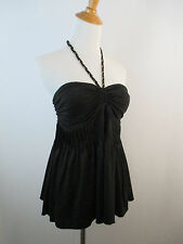 MARCIANO WOMENS SZ XS BLACK GOLD CHAIN BRAIDED STRAP HALTER PLEATS TOP A21