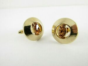 Round Gold Colored Cufflinks with Brown Rhinestone by Swank