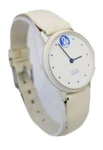 Vintage Swiss Made Ladies Quartz White Leather Strap Wrist Watch A4