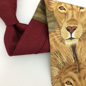 ANIMAL TRACKS USA Tie Lion  Dynamic Duo Yellow Brown Men Necktie Novelty I15-315