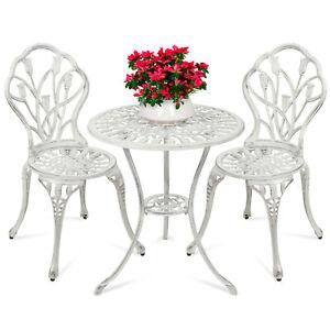 3Pcs Cast Aluminum Patio Bistro Furniture Set Antique Table Chair Outdoor Indoor